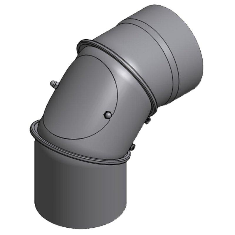 Rauchrohrbogen mit Reinigung 180mm ( verstellbar ) schwarz