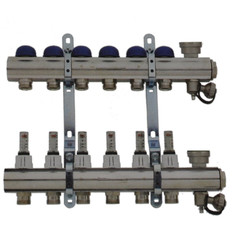 Fußbodenheizungsverteiler 9-Fach mit Topmeter