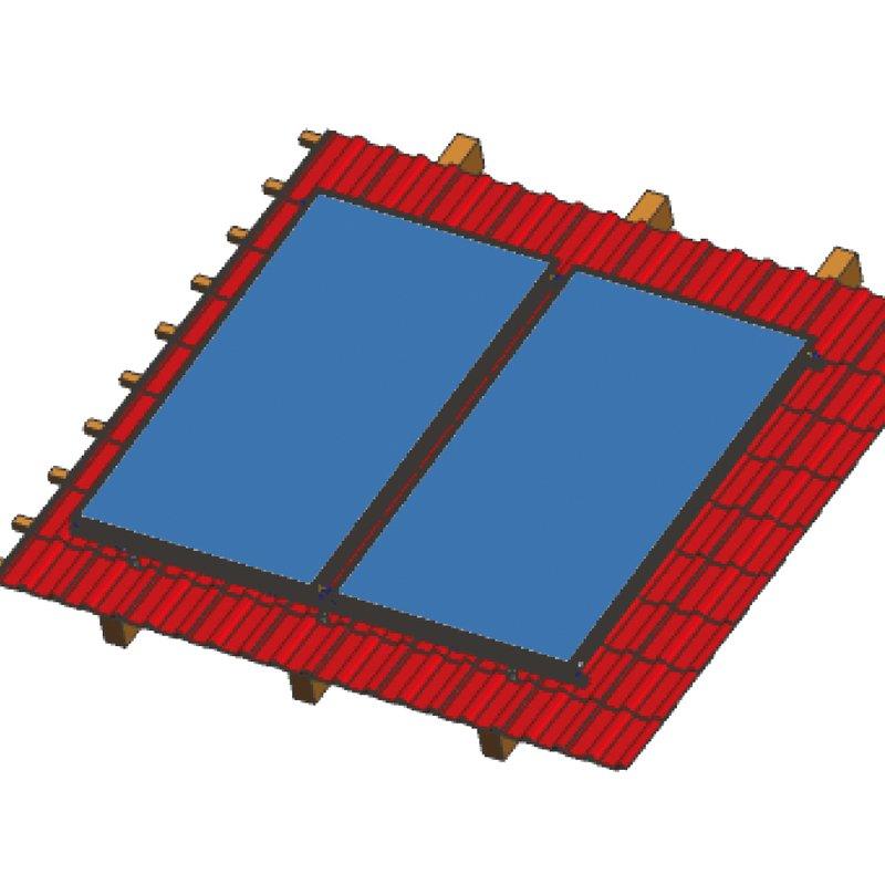 Aufdachmontageset für 2 Kollektoren SSP Prosol 24 , senkrecht