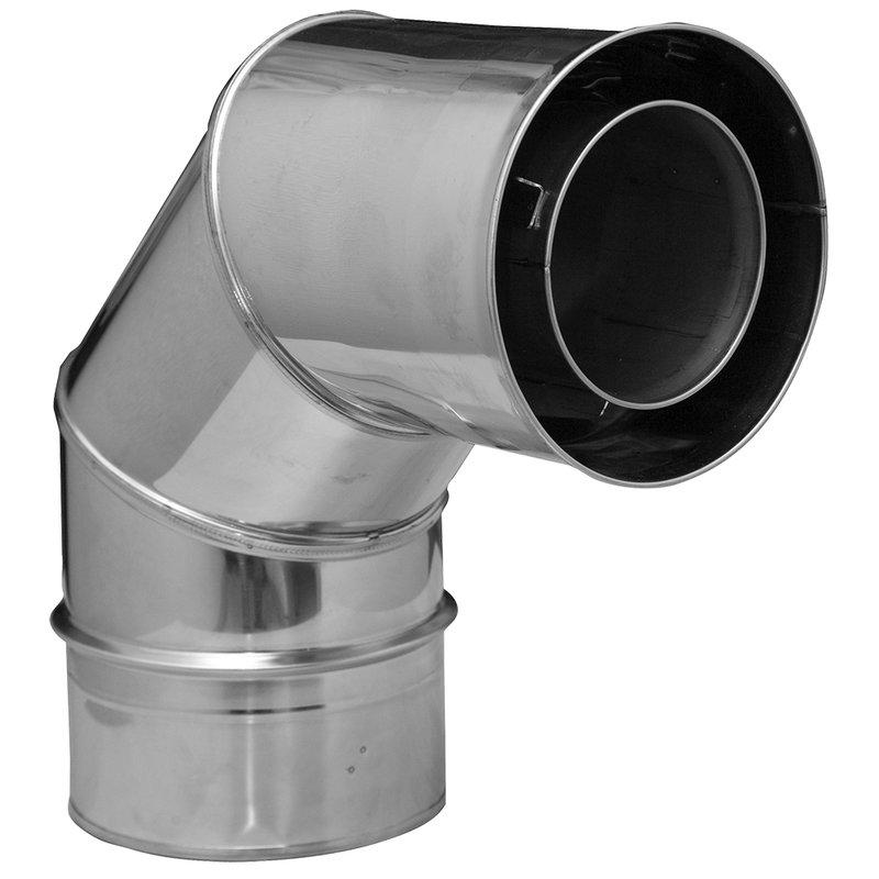 Gas /Öl und Pelletsystem Winkel 90° Ø80/125