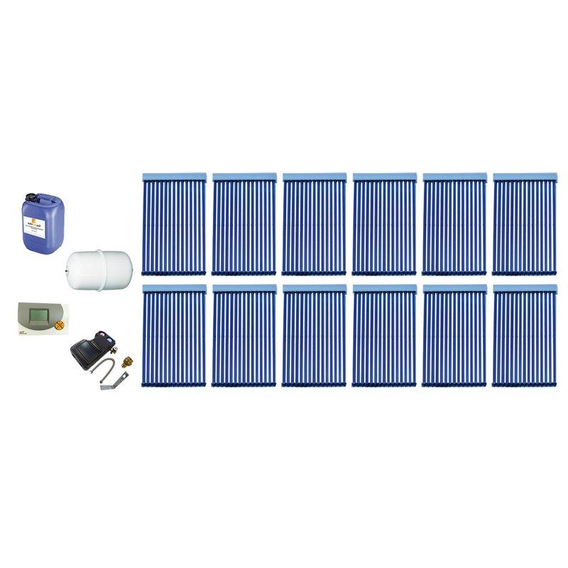 Röhrenkollektor VRK 15 Premium + Solarpaket 12, 12 Kollektoren Gesamtfläche: 31,56 m²