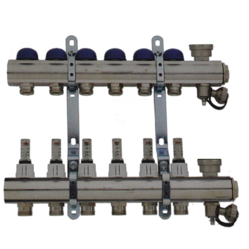 Fußbodenheizungsverteiler 6-Fach mit Topmeter