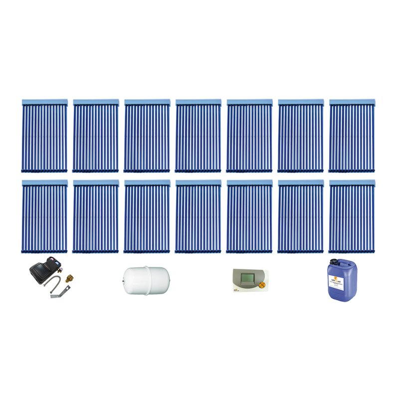 Röhrenkollektor VRK 15 Premium + Solarpaket 14, 14 Kollektoren Gesamtfläche: 36,82 m²