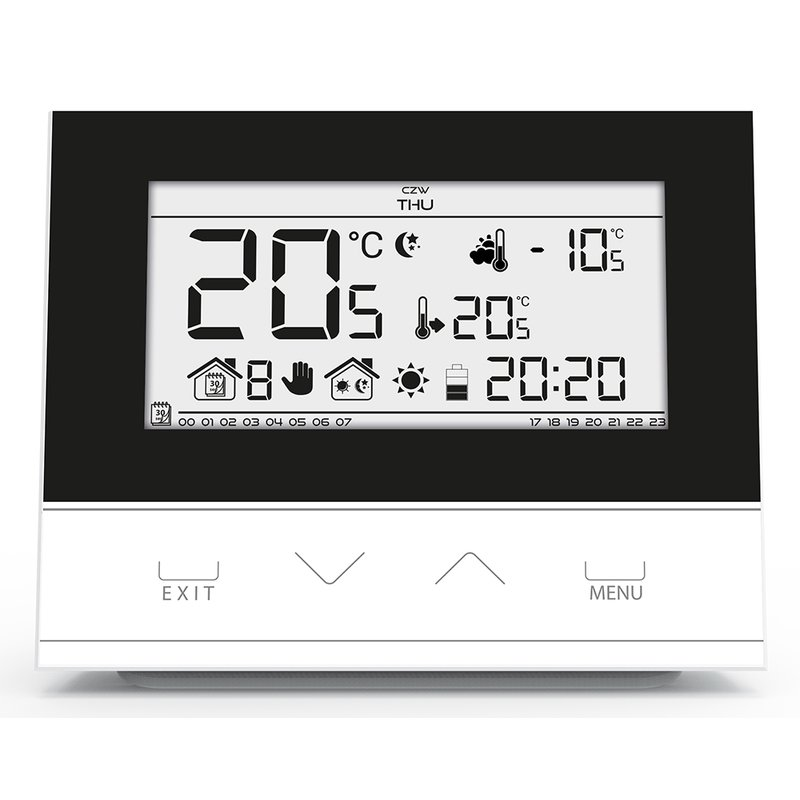 Raumthermostat m. 3 mm Glasfront