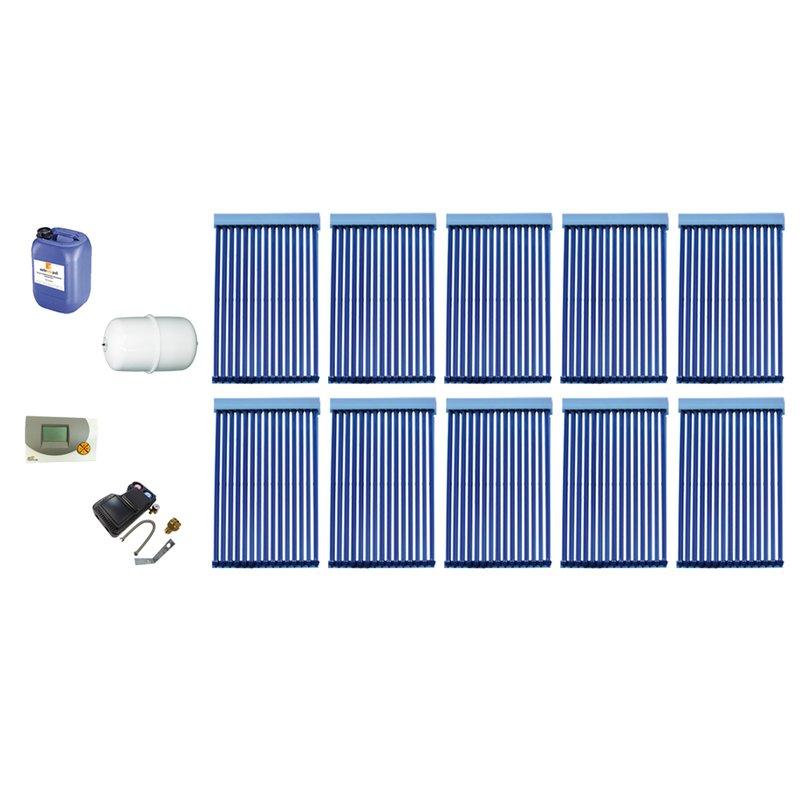 Röhrenkollektor VRK 15 Premium + Solarpaket 10, 10 Kollektoren Gesamtfläche: 26,30 m²