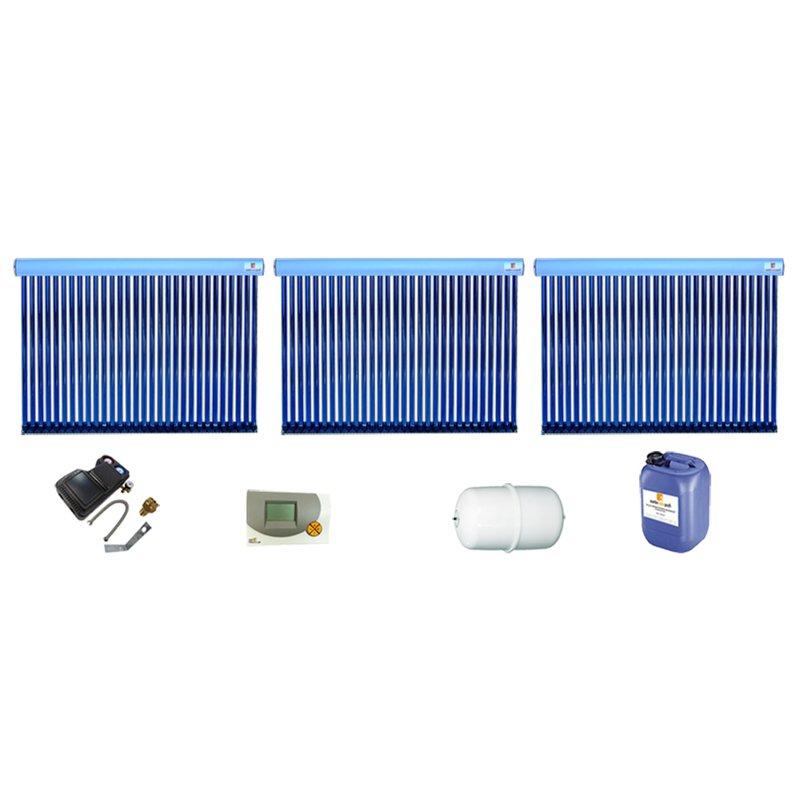 Röhrenkollektor VRK 30 Premium + Solarpaket 6, 3 Kollektoren Gesamtfläche: 15,18 m²