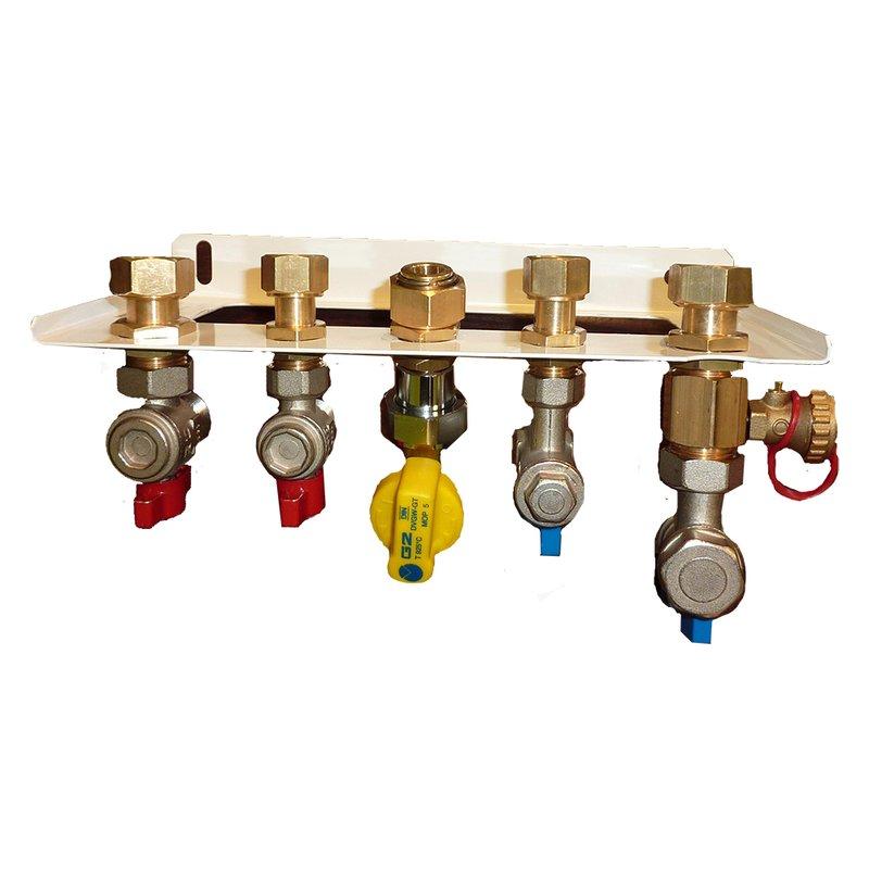 Hydraulik-Anschluss-Set 90° für Gasbrennwert-Gerät 2 Funktionen