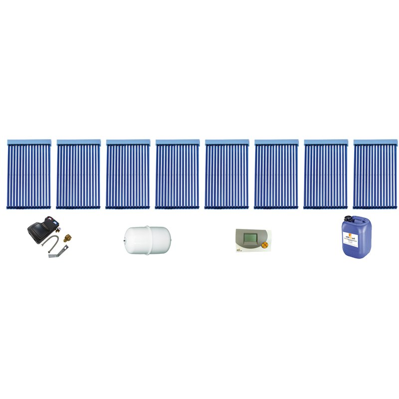 Röhrenkollektor VRK 15 Premium + Solarpaket 8, 8 Kollektoren Gesamtfläche: 21,04 m²
