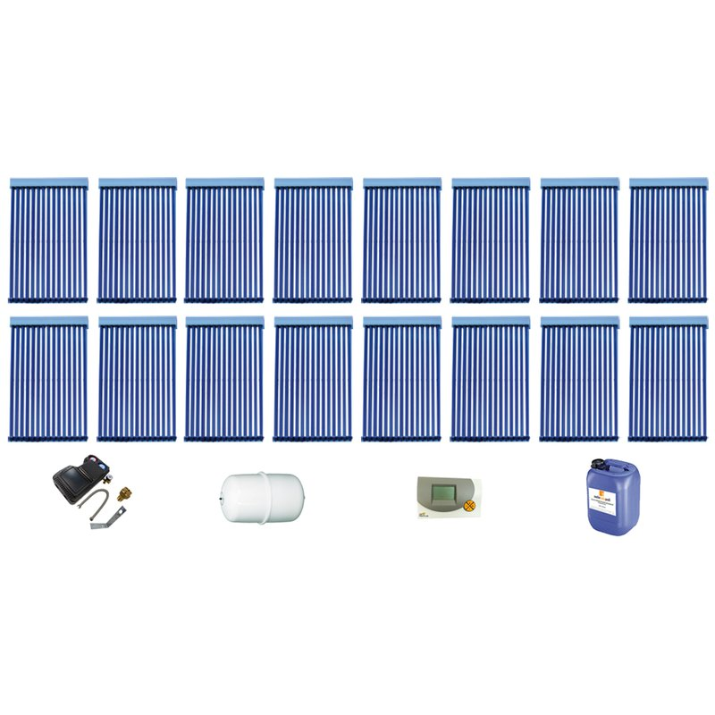 Röhrenkollektor VRK 15 Premium + Solarpaket 16, 16 Kollektoren Gesamtfläche: 42,08 m²
